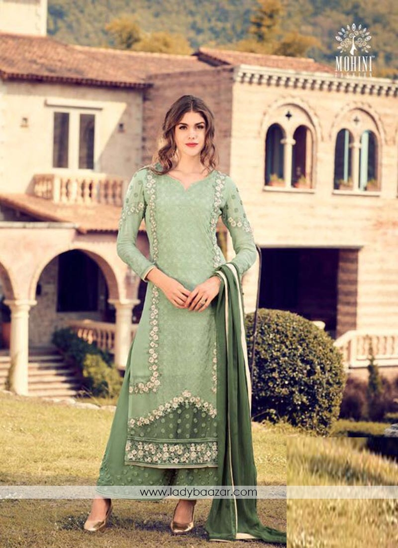Cute Green Embroidery Work Georgette  Palazzo Style Suit