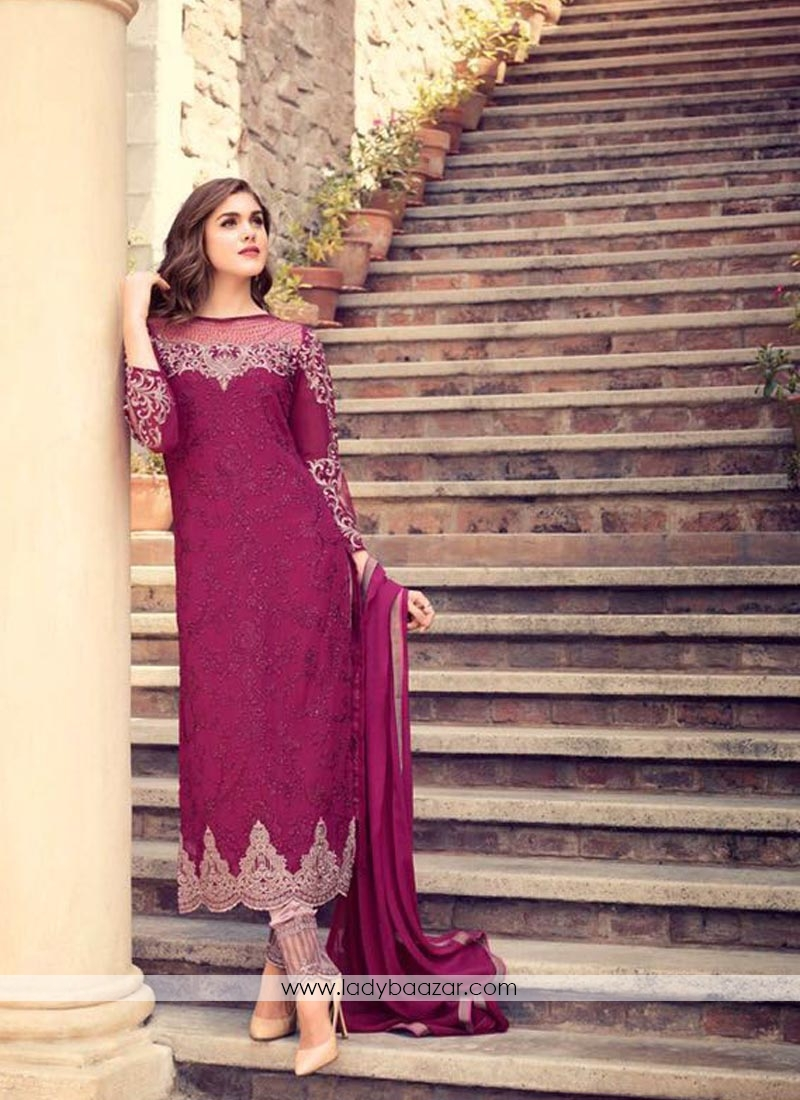 Cute Maroon Georgette Embroidery Work Pant Style Suit