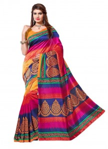 Cute Miulti Color Bhagalpuri Silk Printed Casual Saree