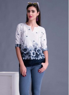 Cute Off White Printed Cotton Western Wear