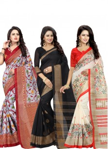 Cute Printed Bhagalpuri Silk Casual Saree Pack Of 3 Combo