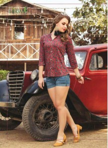 Cute Rayon Printed  Red Color Western Wear