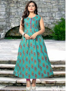 Cute Rayon Turquoise color Print Work Party Wear Kurti