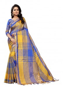 Cute Yellow With Blue Cotton Silk Saree