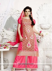 Dainty Cotton and Net Embroidered Work Salwar Kame