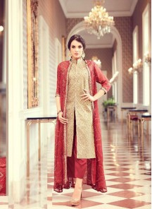 Dainty Tapeta Silk Cream N Red Color Embroidery Work Pant Style Suit