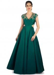 Dark Green Heavy Tapeta Hand Work Designer Gown