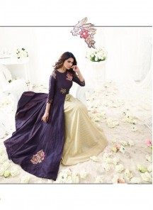 Dark Purple Banarsi Floor Length Anarkali Suit