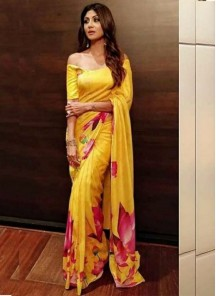 Dazzling Digital Print Satin Silk Yellow Designer Saree