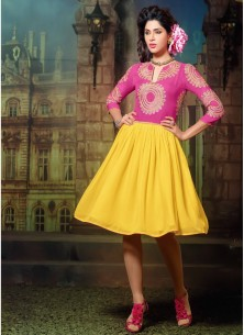 Dazzling Georgette Yellow Embroidered Work Party W