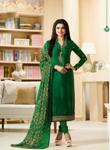 Dazzling Green Crepe Embroidery With Printed  Churidar Suit