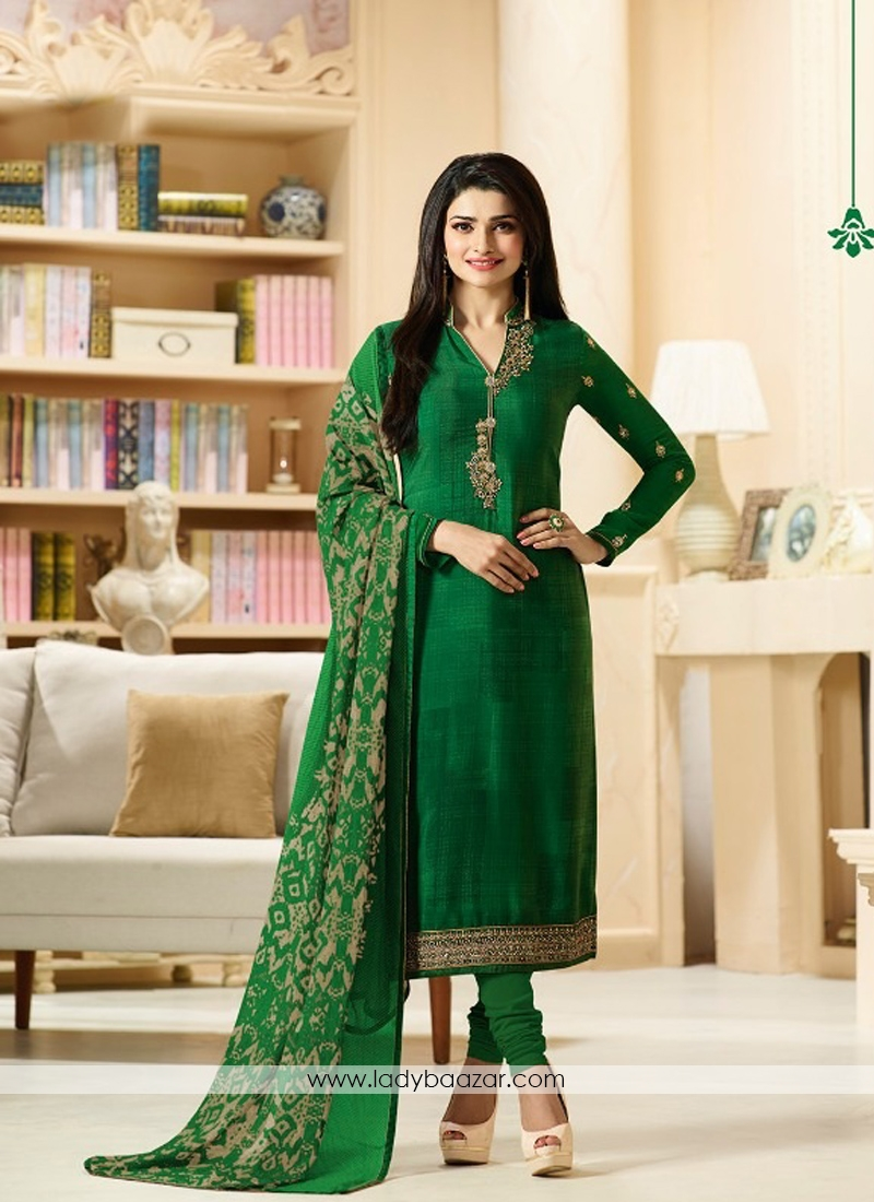 7887de15b5 Dazzling Green Crepe Embroidery With Printed Churidar Suit