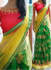 Dazzling Hand Embroidery Net Casual Saree