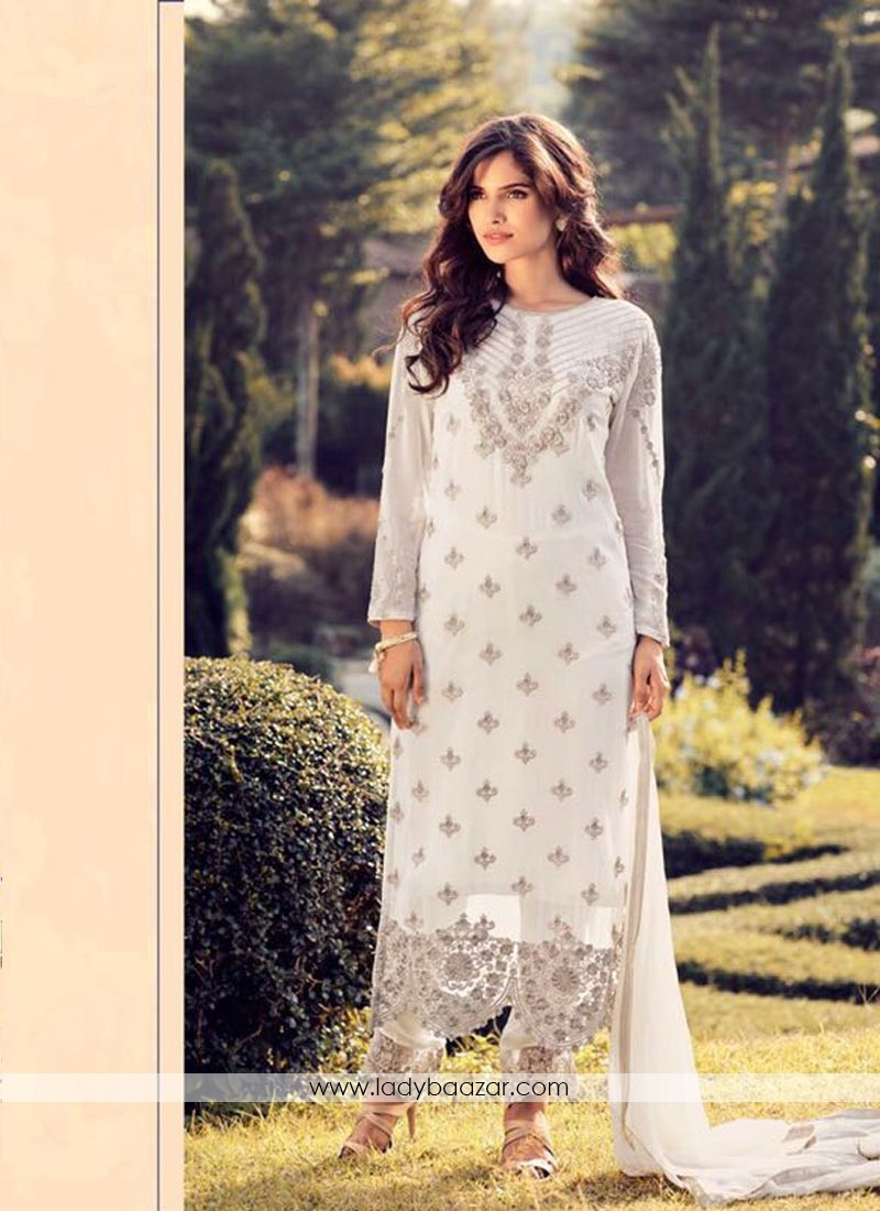 Dazzling White Georgette Embroidery Work Pant Style Suit