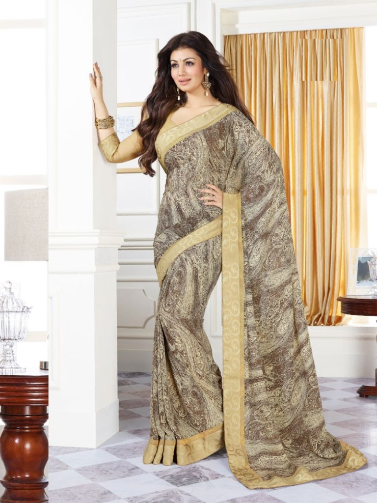 292a3a662019e9 Dazzling Yellow and Grey Printed Georgette Saree