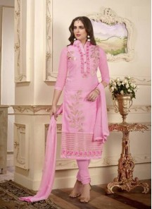 Delectable Cotton Rose Pink Embroidered Work Churidar Suit