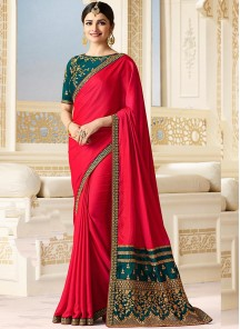 Delectable Embroidery  Work  Silk Designer Classic Saree