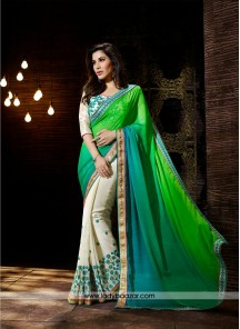 Delectable Georgette Patch Border Work Designer Saree