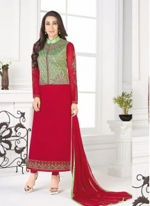Delectable Red Georgette Embroidery Work Straight Suit