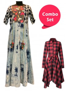 Delightful Colored  Printed Frock & Rayon Kurti - Pack of 2