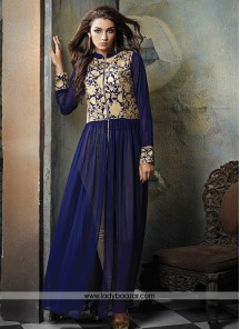 Delightful Georgette Navy Blue Designer Suit