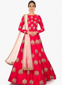 Delightful Pink Embroidery Work Designer Wear Anarkali Suit