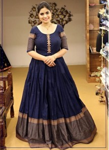 Demanding Navy Blue Colored Party Wear Woven Cotton Gown