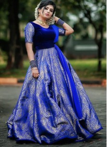 Demanding Royal Blue Colored Party wear Velvet And