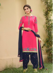 Demure Pink With Black Cotton Embroidery Work Patiyala Suit