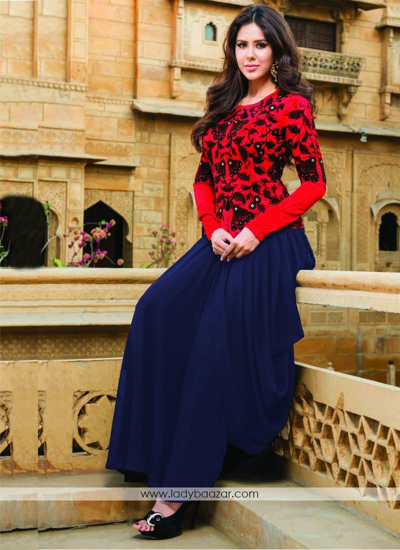 Deserving Embroidered Work Georgette Designer  Salwar Kameez