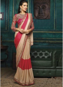 Deserving Embroidery Work Beige And Red Designer Half N Half Saree