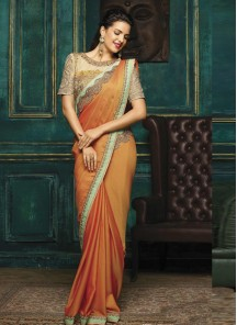 Deserving Embroidery Work Peach Designer Saree