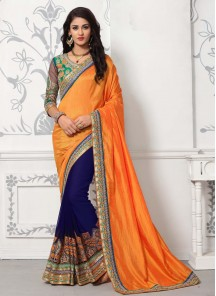 Deserving Embroidery Work Orange And Blue Designer Half N Half Saree