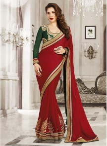 Deserving Georgette Red Designer Saree