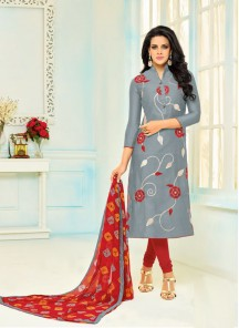 Deserving Grey Chanderi Printed Salwar Kameez