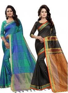 Designer Cotton Silk Printed Saree Pack Of 2 Combo