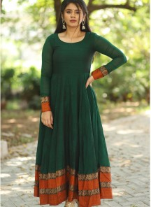 Designer Green Colored Party Wear long Cotton Gown