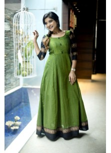 Designer Green Colored Party Wear Readymade Cotton
