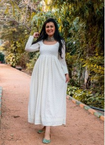 Designer Long Off-White Pleated Frock In Georgette With Lucknowi Chikankari Embroidery Work
