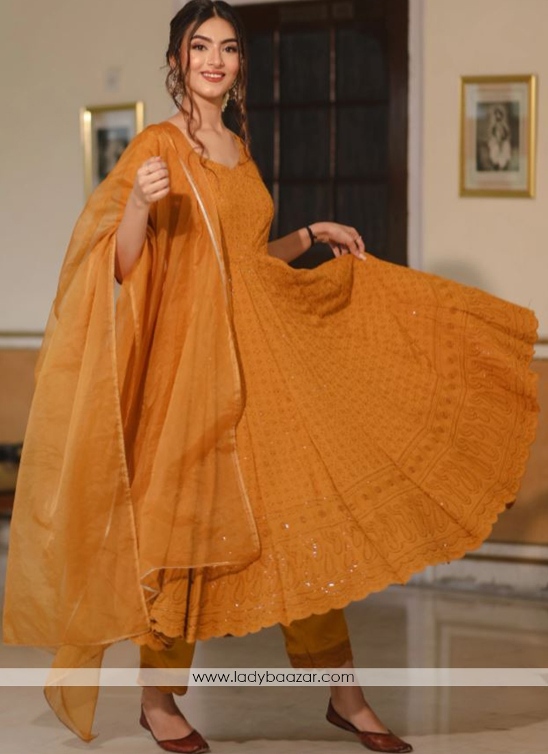 Designer Anarkali Suit In Georgette With Lucknowi Chikankari Embroidery Work