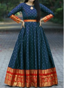 Designer Navy Blue Colored Festive Wear Woven Tapetta Silk Gown