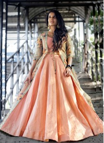 Designer Peach Party Wear Lahenga Choli Along With Tissue Silk Floral Printed Shrugs.