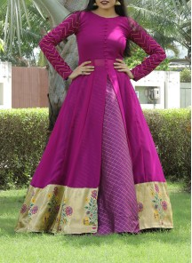 Designer Purple Colored Partywear Printed Georgette Top-Skirt Set.