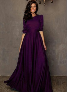 Designer Purple Tapeta Silk Floor Length Dress With Belt
