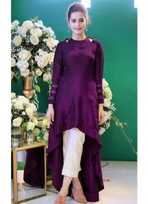 Designer Satin Silk Wine Party Wear Up And Down Gown With Stitched Ankle Length Plazzo Pant