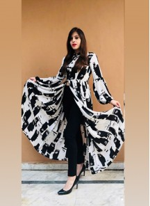 Designer wear Printed Front Slit Floor Length Long Reyon Kurti