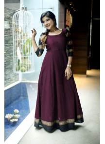 Designer Wine Colored Party Wear Readymade Cotton Gown