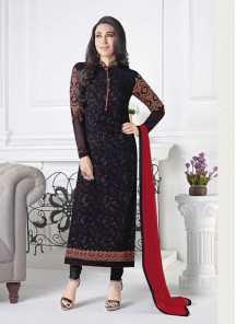 Desirable Embroidered Work Black Crepe Dress