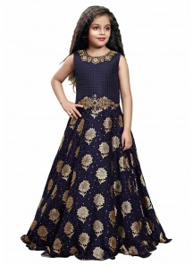 Digital Print And Diamond Silk Navy Blue Gown