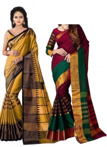Digital Printed Cotton Silk Saree Pack Of 2 Combo
